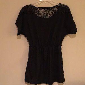 Black chiffon lace dress